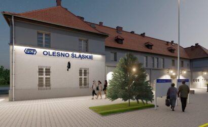 PKP S.A. z ofertami na przebudowę dworca Olesno Śląskie [WIZUALIZACJE]
